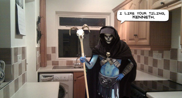 Skeletor in Kenny's kitchen