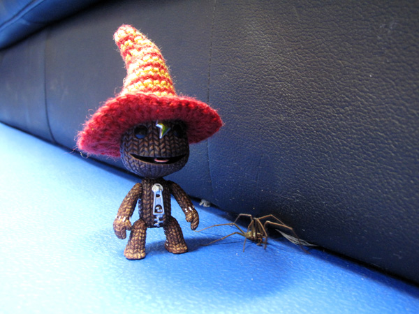 Sackboy with the Giant Enemy Spider